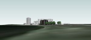 The Greystar proposed apartment project looking west from the northeast side of Lake Calhoun with the CBC Apartments behind and the Lake Point tower to the left.
