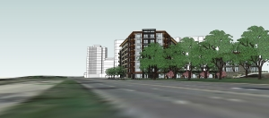The proposed Greystar apartment project from the south side of West Lake Street looking west with CBC Apartments and the Lake Point Tower behind.
